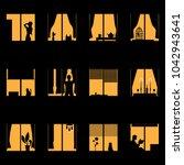 light night windows of a... | Shutterstock .eps vector #1042943641
