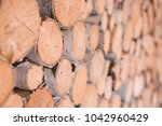 firewood for the winter  stacks ... | Shutterstock . vector #1042960429