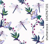 Stock vector embroidery decorative branch and dragonfly insect patch fashion patches with summer wild nature 1042967101