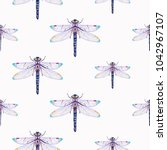 embroidery beautiful dragonfly... | Shutterstock .eps vector #1042967107