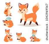 fox character doing different... | Shutterstock .eps vector #1042969567