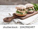 Food Burger With Tuna  Herbs ...