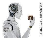 3d rendering humanoid robot...   Shutterstock . vector #1042982587