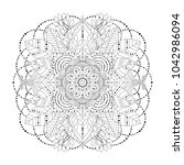 floral mandala with leaves ... | Shutterstock .eps vector #1042986094