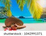 traveler woman in big hat...   Shutterstock . vector #1042991371