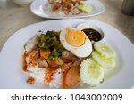 barbecue pork and roasted pork... | Shutterstock . vector #1043002009