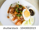 barbecue pork and roasted pork... | Shutterstock . vector #1043002015