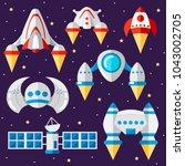 set of spacecraft and... | Shutterstock .eps vector #1043002705