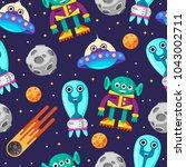 cartoon ornament. alien. space. ... | Shutterstock .eps vector #1043002711