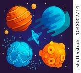 set of cartoon planets. vector... | Shutterstock .eps vector #1043002714
