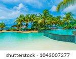 laguna beach resort  mauritius  ... | Shutterstock . vector #1043007277