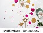 confetti. festive mood. party.... | Shutterstock . vector #1043008057