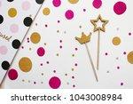 confetti. festive mood. party.... | Shutterstock . vector #1043008984