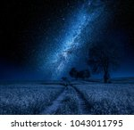 field and milky way with trees... | Shutterstock . vector #1043011795