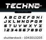 vector of futuristic alphabet... | Shutterstock .eps vector #1043013205