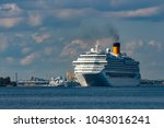 large royal cruise liner on the ... | Shutterstock . vector #1043016241