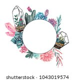 geometric frame with succulents ... | Shutterstock . vector #1043019574