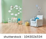 grey and green wall decoration... | Shutterstock . vector #1043026534