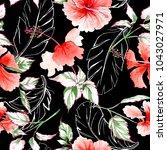 wildflower rose flower pattern...   Shutterstock . vector #1043027971