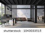 industrial loft style office 3d ...   Shutterstock . vector #1043033515