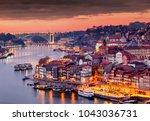 view to porto over river douro... | Shutterstock . vector #1043036731