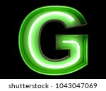 neon green light alphabet... | Shutterstock . vector #1043047069