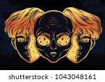 portriat of the extraordinary... | Shutterstock .eps vector #1043048161