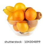 Fruits In Glass Bowl Isolated...