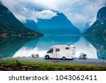family vacation travel rv ... | Shutterstock . vector #1043062411