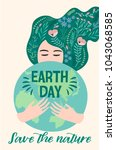 earth day. vector template for... | Shutterstock .eps vector #1043068585