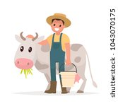farmer and cow. agriculture.... | Shutterstock .eps vector #1043070175