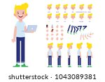 front  side  back view animated ... | Shutterstock .eps vector #1043089381
