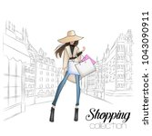 beautiful fashion model in hat. ... | Shutterstock .eps vector #1043090911