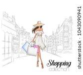 beautiful fashion model in hat. ... | Shutterstock .eps vector #1043090941