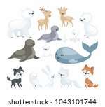 the image of cute polar animals.... | Shutterstock .eps vector #1043101744