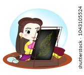thai woman is sewing the... | Shutterstock .eps vector #1043105524