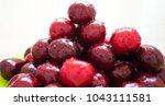juicy cherries with waterdrop   Shutterstock . vector #1043111581