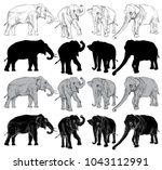set of elephant on a white... | Shutterstock . vector #1043112991