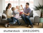 happy family with kids... | Shutterstock . vector #1043120491