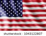 usa flag  realistic illustration   Shutterstock . vector #1043122807