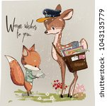 cute fawn and fox with letter | Shutterstock .eps vector #1043135779