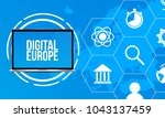 europe map with trendy icons... | Shutterstock .eps vector #1043137459