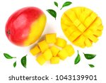 mango fruit and half isolated... | Shutterstock . vector #1043139901