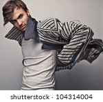 elegant young handsome man.... | Shutterstock . vector #104314004