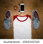 top view set for morning... | Shutterstock . vector #1043143765