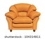 orange sofa on white background ...