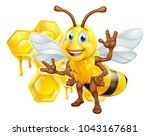 a bee cute cartoon character... | Shutterstock .eps vector #1043167681