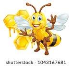 a bee cute cartoon character... | Shutterstock .eps vector #1043167681