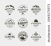 set of vintage wilderness logos.... | Shutterstock .eps vector #1043175571