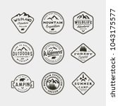 set of vintage wilderness logos.... | Shutterstock .eps vector #1043175577